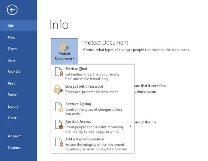 protect document settings