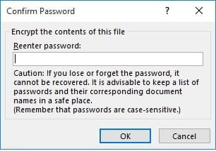 password confirmation window