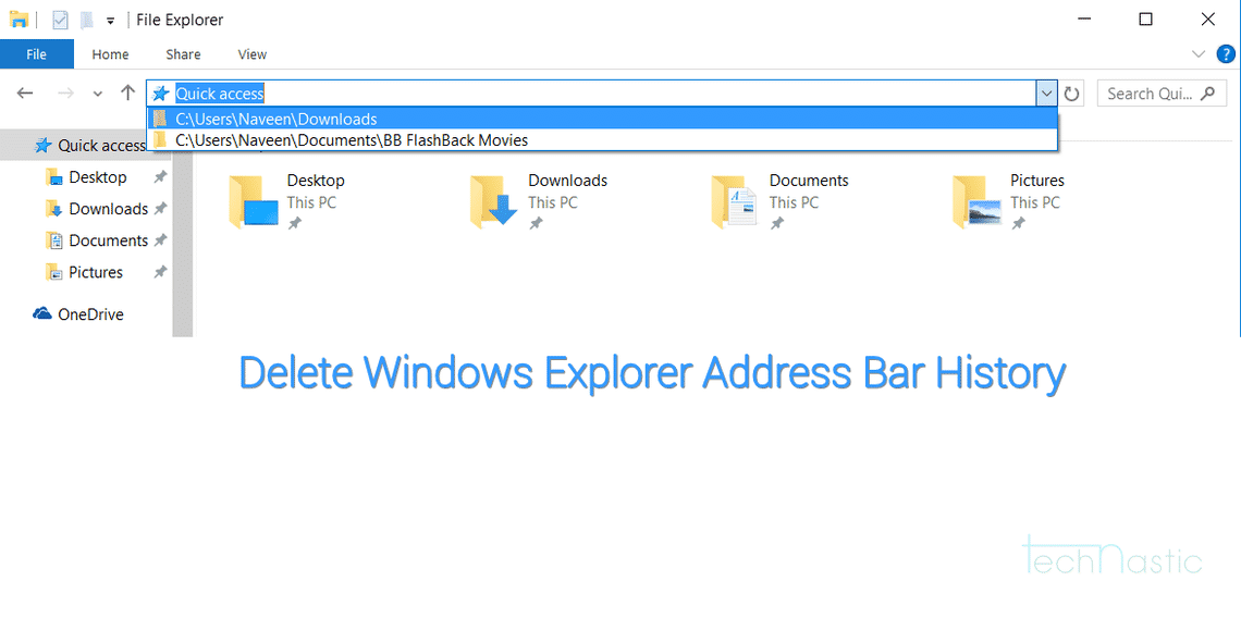 Delete Windows Explorer Address Bar History