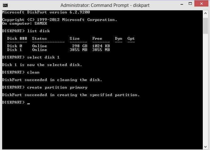 Create Partition_Console