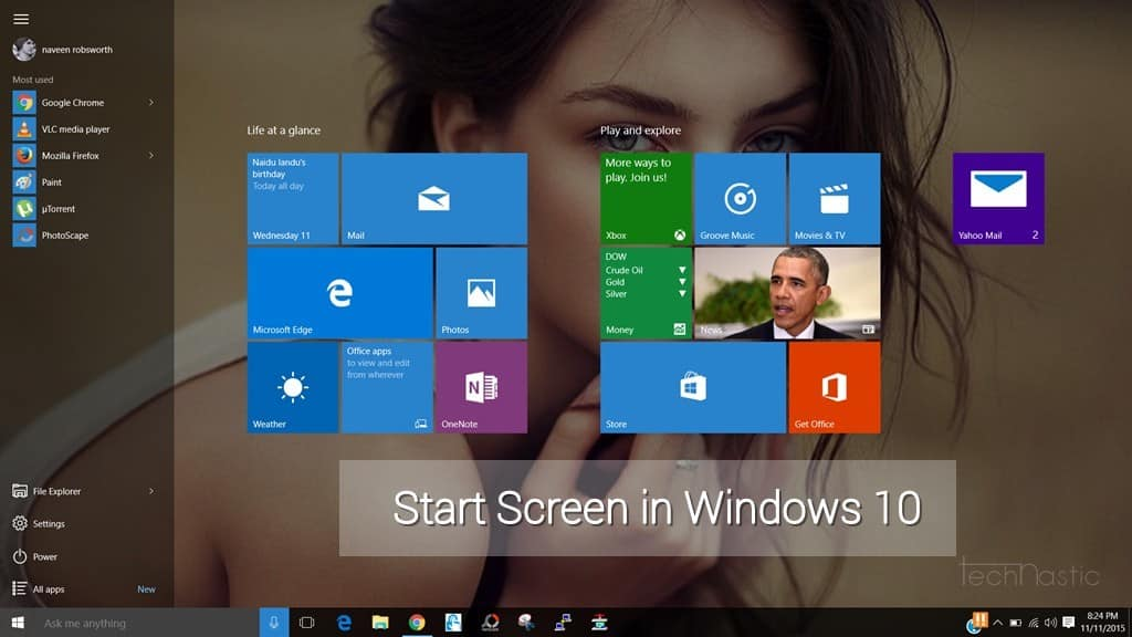 how to start on users screen windows 10