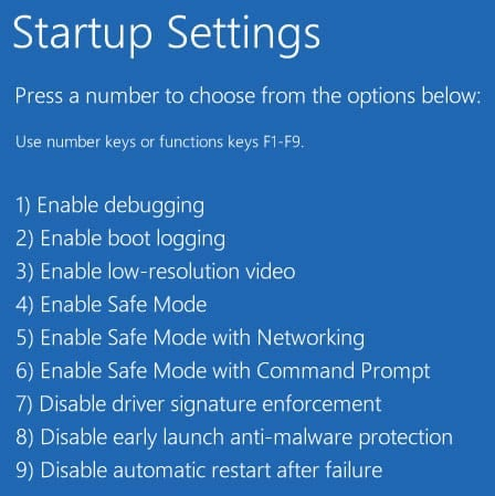 windows 10 startup options