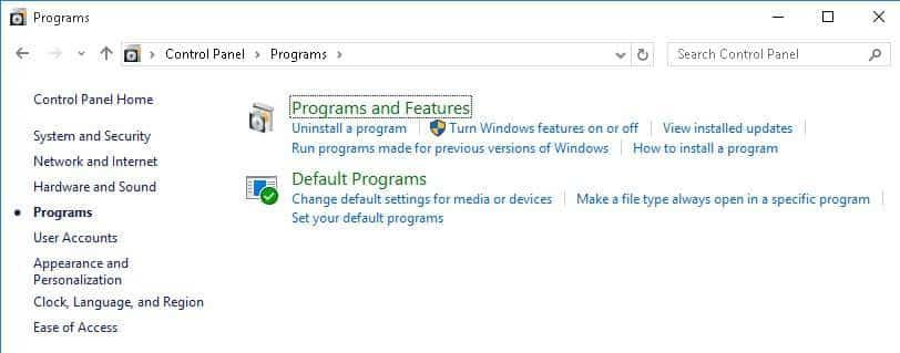 Default-programs