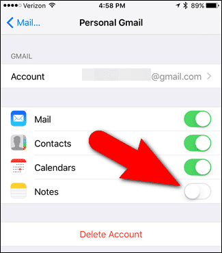Sync iOS 9 Notes With Gmail - 2
