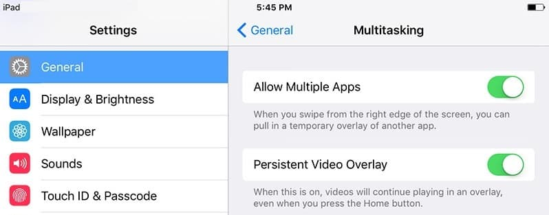 ipad multitasking settings