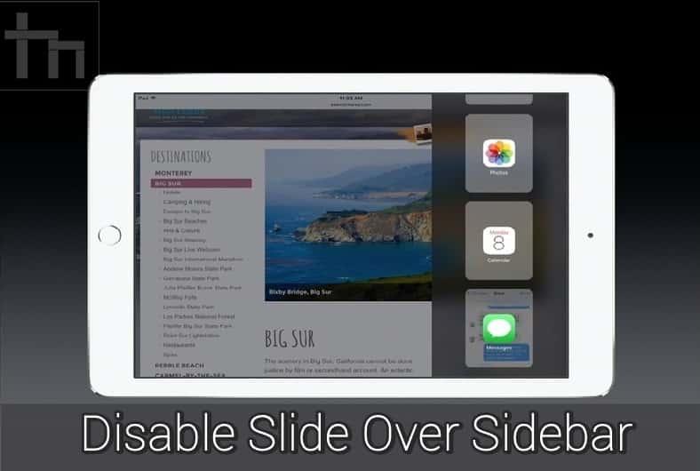 slide over sidebar ipad