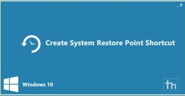 System Restore point shortcut