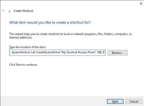 select shortcut path