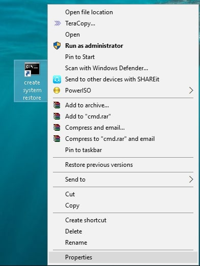 system restore shortcut created