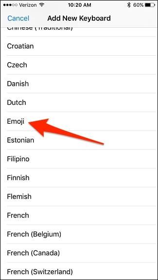 add emoji to iphone keyboard