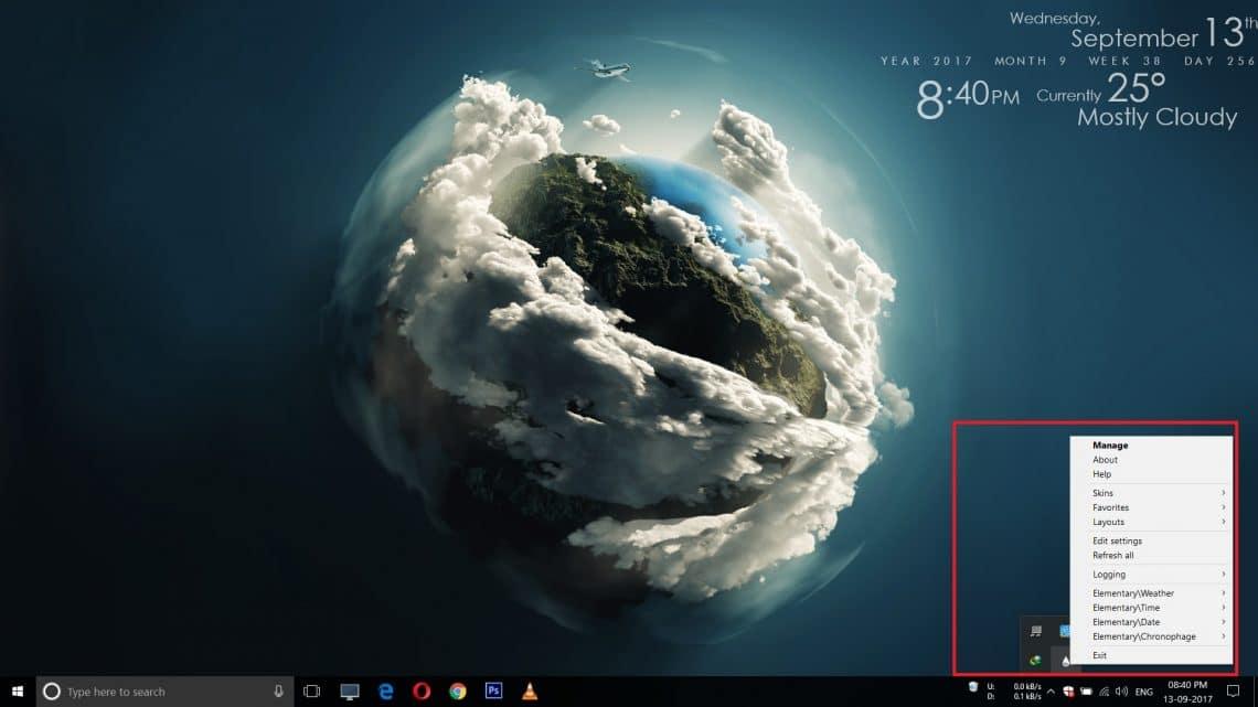 rainmeter widgets on windows desktop