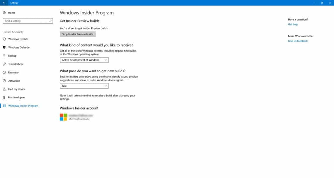 Windows Insider Preview preferences