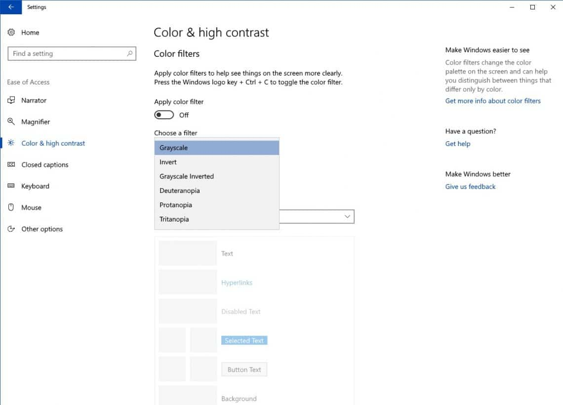 How To Apply Color Filter To Your Windows 10 Screen