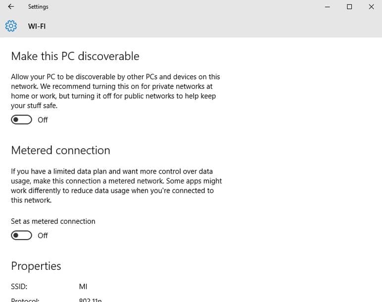 turn off make this pc discoverable option windows 10