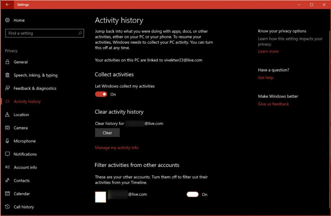 Stop, View And Clear Activity History In Windows 10
