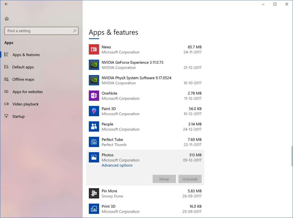 uninstall apps on windows 10