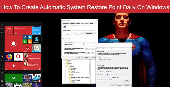 Create Automatic System Restore Point - Windows 10
