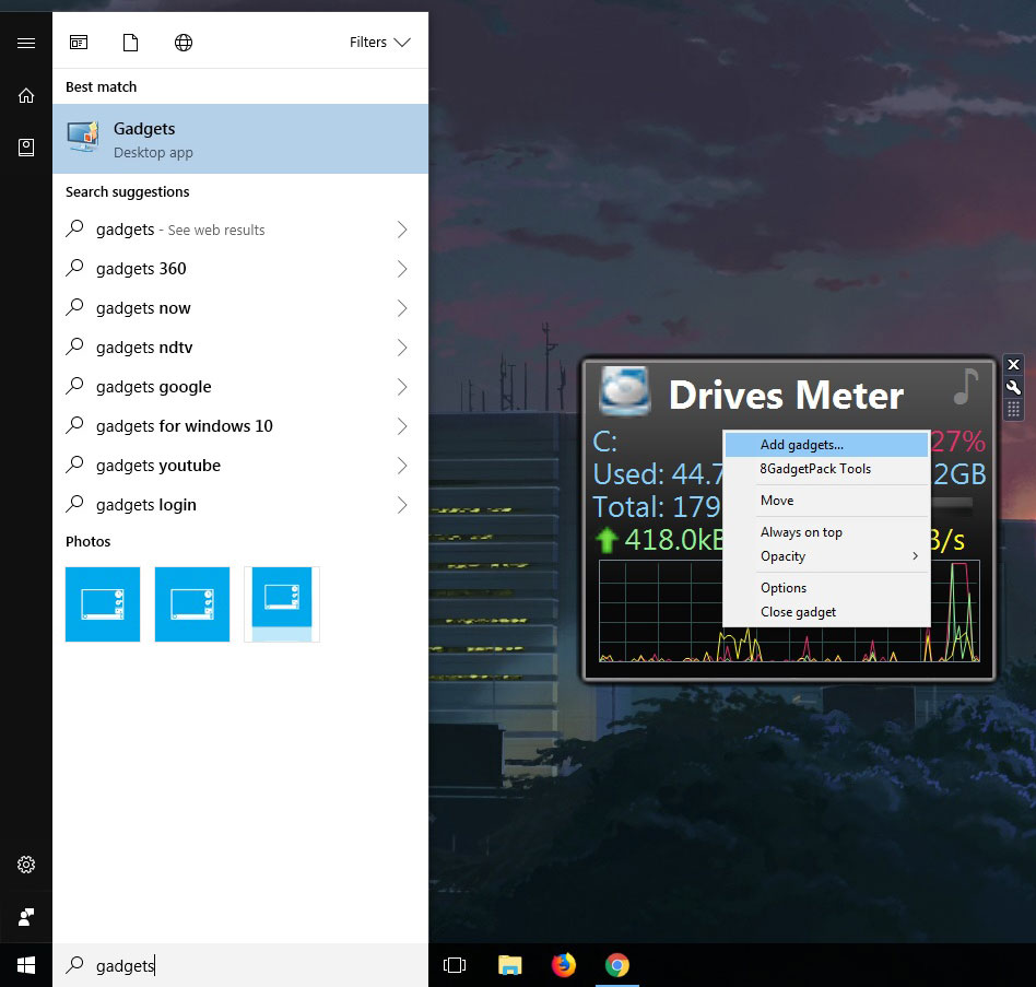 Add Windows Desktop Gadgets On Windows 10 With 8GadgetPack