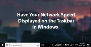 Network Speed Displayed on Taskbar in Windows