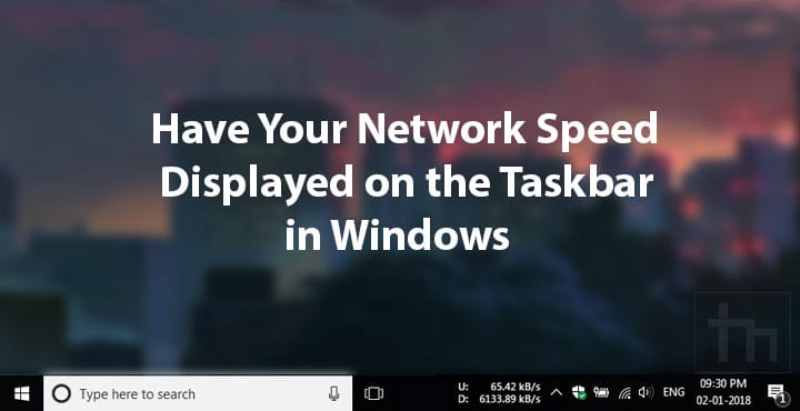 Network Speed Displayed on Taskbar in Windows