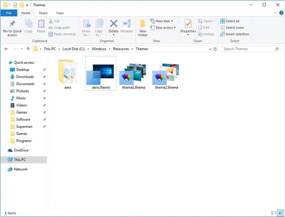 Windows 10 aero theme