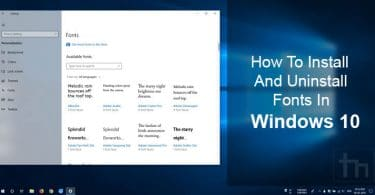 Install and Uninstall Fonts in Windows 10
