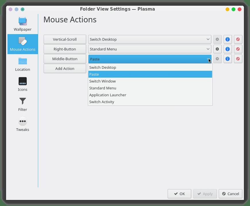 KDE Plasma mouse actions