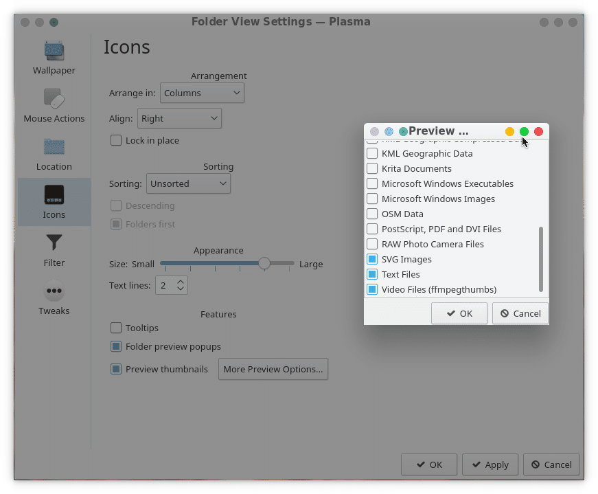 KDE Plasma Desktop icons