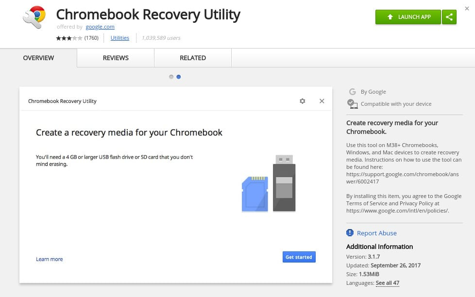chromebook recovery utility