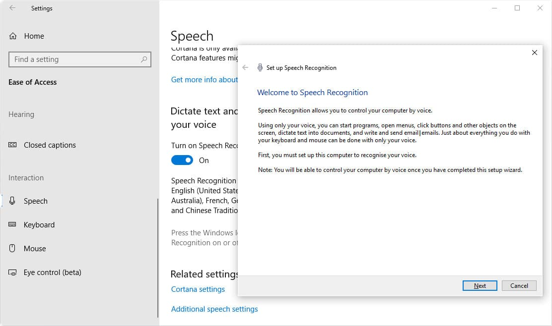 how to set up speech recognition on windows 10 and enable