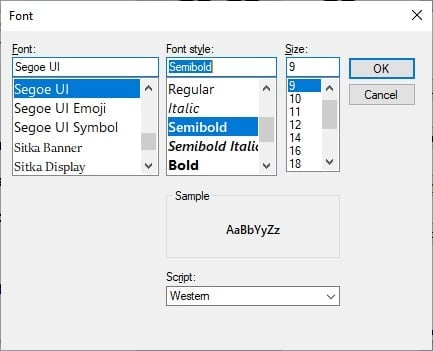 System Fonts on Windows 10