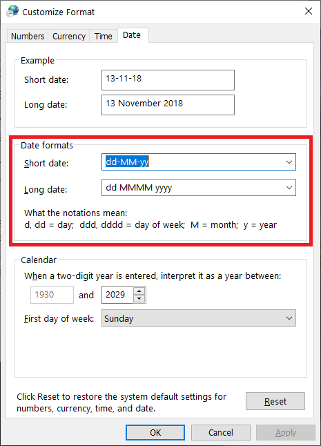 apply time format windows 10