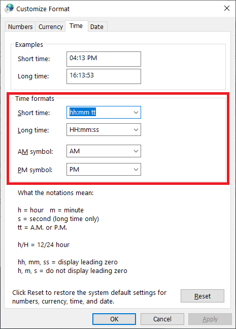12 and 24 hour time format settings