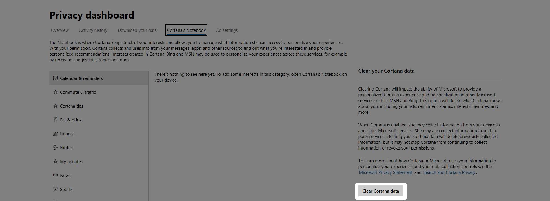 Microsoft Edge Clear Cortana data button