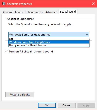Turn on Spatial Sound in Windows 10