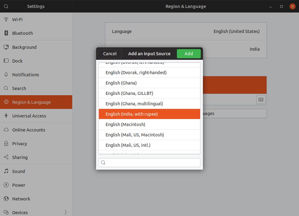 select English (india) as keyboard language