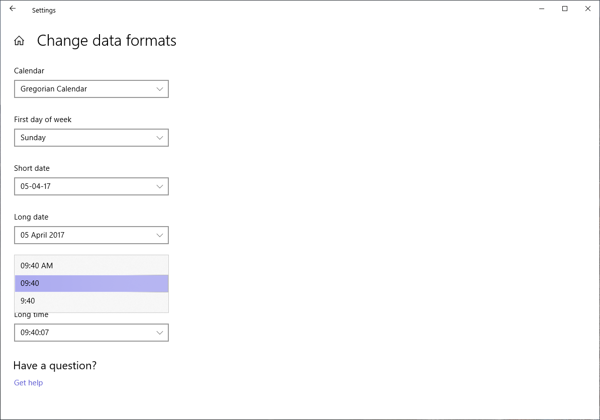 change data formats and calendar settings