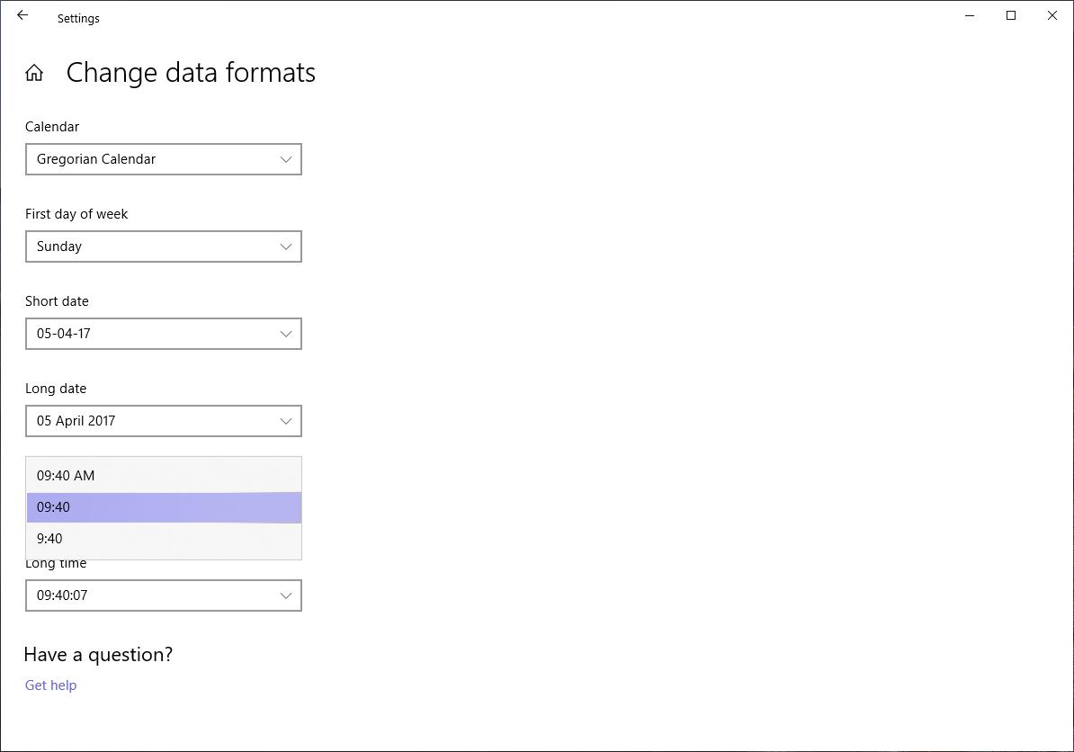 change data formats and calendar settings
