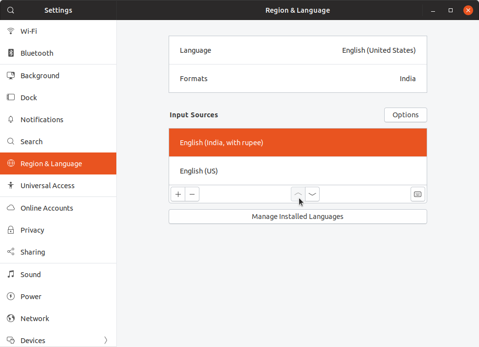 change ubuntu keyboard layout