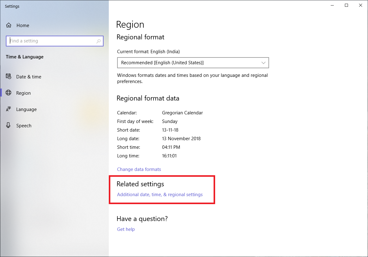 additional date, time settings windows 10