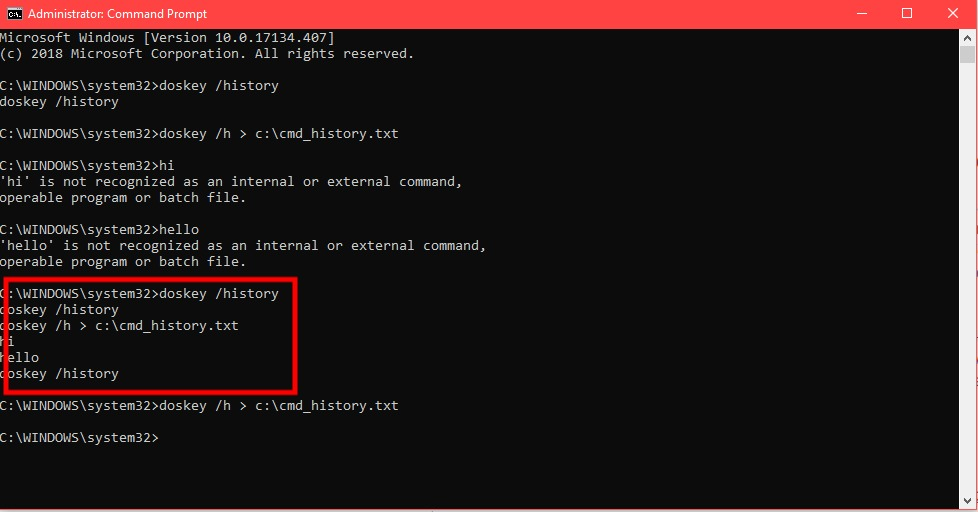 View command history with command