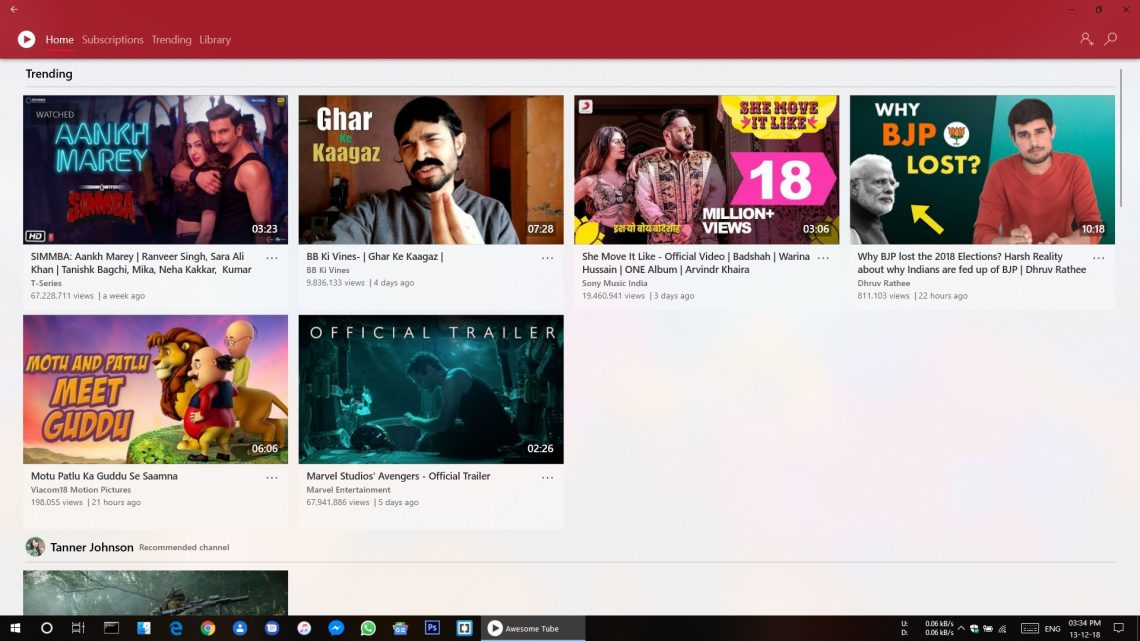 Awesome Tube app windows 10