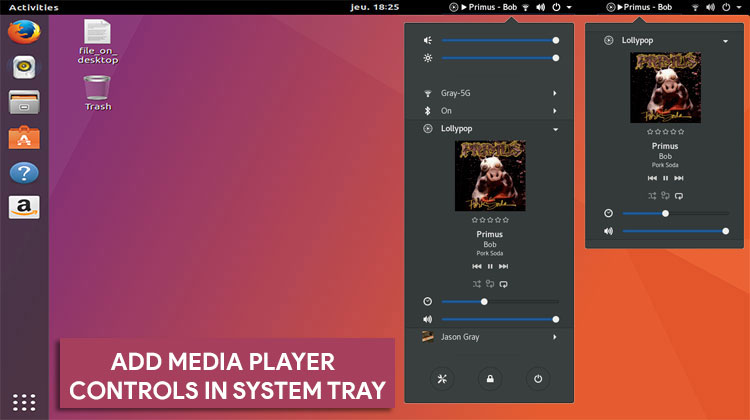 Add Media Controls in System Tray on Ubuntu (GNOME)