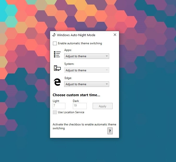 auto-dark mode schedule windows 10