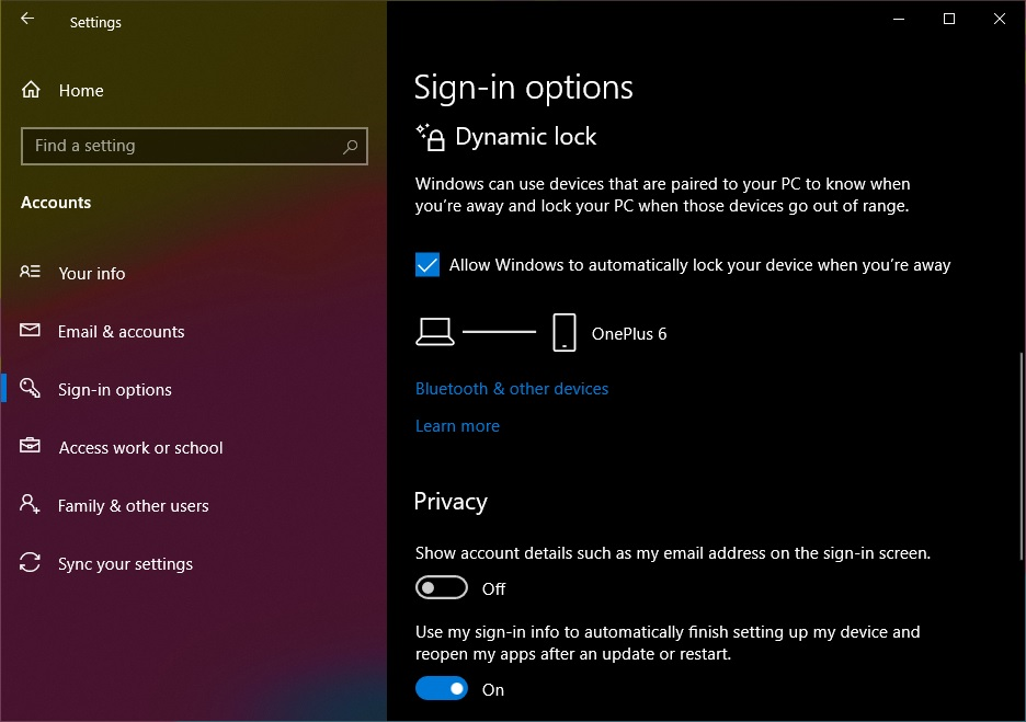 enabling dynamic dynamic lock on windows 10
