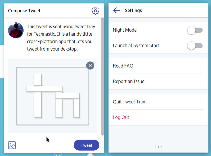 compose and sent tweet from desktop