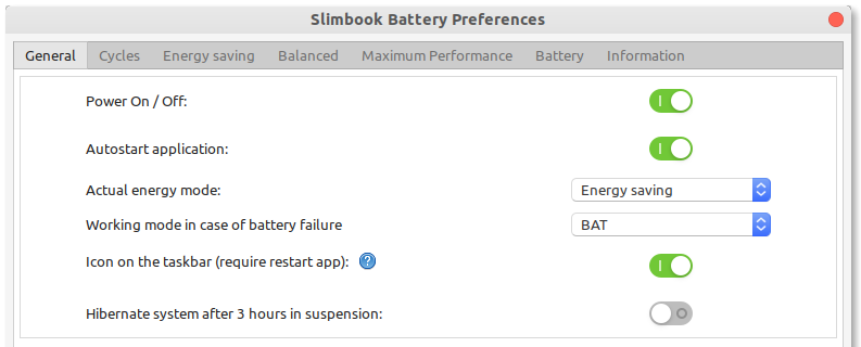 Slimbook Battery Preferences