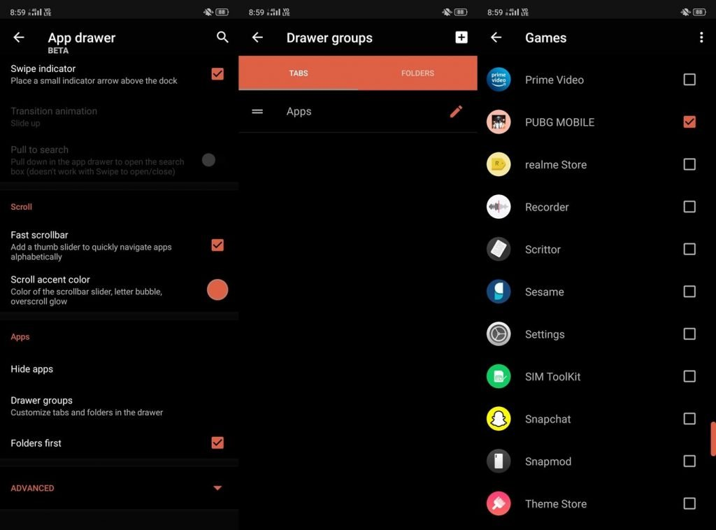 App drawer group settings in nova launcher