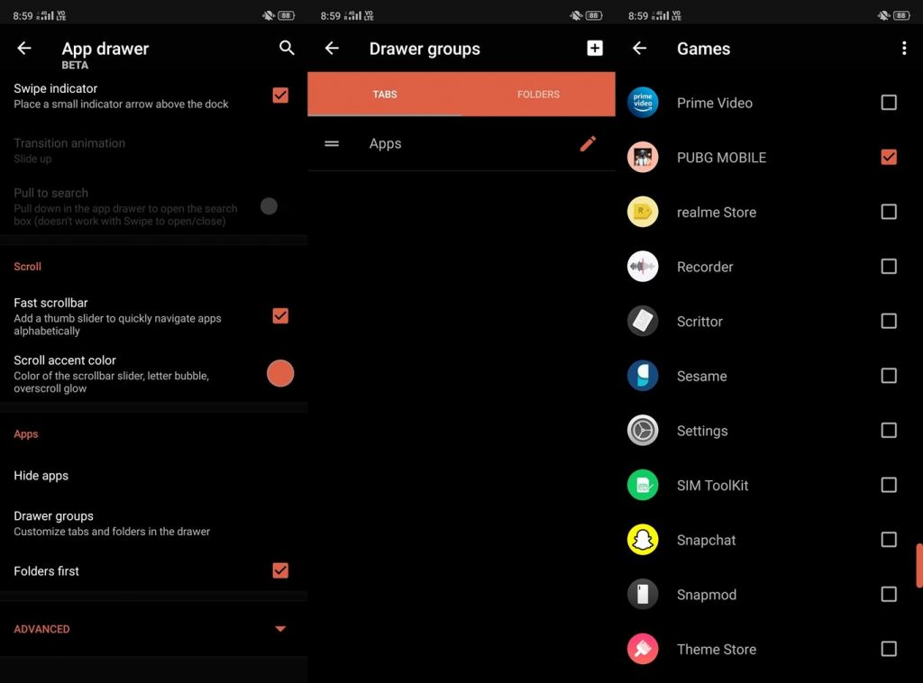 App drawer group settings