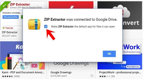 default app for extracting zip in drive